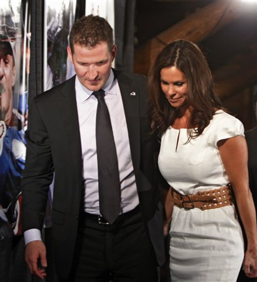 Colorado Avalanche captain Adam Foote announces his retirement from hockey at a news conference in Denver on Friday, April 8, 2011. Foote, 39, is wrapping up his 19th season in the NHL.  (AP Photo/Ed Andrieski)