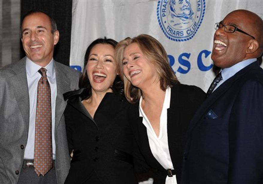 """This Friday, Oct. 24, 2008 picture shows, from left, the 'Today Show' team Matt Lauer, Ann Curry, Meredith Vieira and Al Roker at the Friars Club Roast of 'Today Show' host Matt Lauer in New York. NBC's """"Today"""" show has been one of the most stable and successful programs in the history of television over the past 15 years. Now it faces the possibility of a major makeover. (AP Photo/Evan Agostini)"""