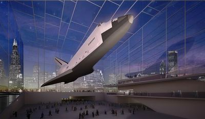 This image provided by the Adler Planetarium on Thursday, April 7, 2011 shows a proposal for a space shuttle exhibit in Chicago. As the 30th anniversary of the first space shuttle launch draws near, the focus is not so much on the past but the future: Where will the shuttles wind up once the program winds down? (AP Photo/Adler Planetarium)