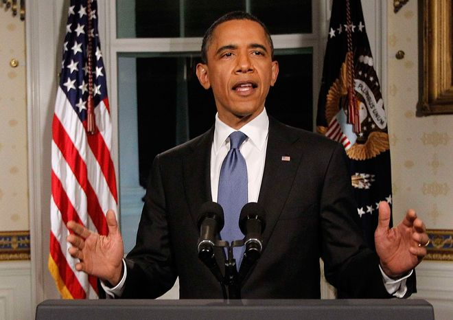 **FILE** President Obama speaks in the Blue Room of the White House about the budget and averted government shutdown after a deal was made between Republican and Democrat lawmakers on April 8, 2011. (Associated Press)
