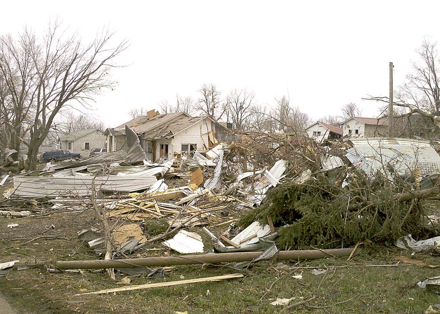 A wide tornado whipped through Mapleton, Iowa, on Saturday evening, destroying 12 to 15 blocks of the small town in the state's northwest. (AP Photo/Sioux City Journal, Jim Lee)