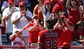 Toronto Blue Jays starting pitcher Jo-Jo Reyes throws to the Los Angeles Angels during the first inning of a baseball game in Anaheim, Calif., Sunday, April 10, 2011. (AP Photo/Chris Carlson)