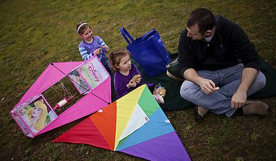 From left, Claire Tarallo, 5, Nora Tarallo, 3, and dad Brian Tarallo take a break from flying to eat lunch during the annual Kite Festival on the National Mall, in Washington, Sunday, April 10, 2011. The family is from Herndon, Va. (Drew Angerer/The Washington Times)