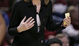 FILE - In this March 10, 2008 file photo, California head coach Joanne Boyle gestures in the first half against Stanford in the finals of the women's Pac-10 basketball tournament in San Jose, Calif. Boyle is the new women's basketball coach at Virginia. Virginia athletic director Craig Littlepage says Boyle will become the fourth women's head coach in the 38-year history of the program. She is leaving after six years at California with a 137-64 record. (AP Photo/Paul Sakuma, File)