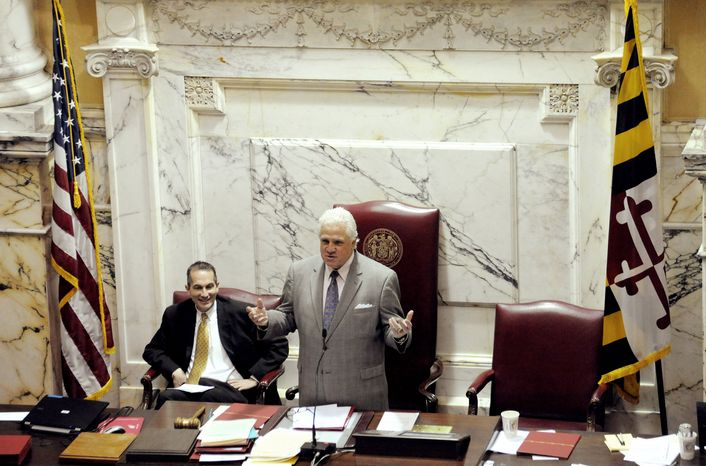 "The Maryland General Assembly passed ""everything the governor put forward that was capable of passing,"" said State Senate President Thomas V. Mike Miller Jr., here on the last day of the legislative session in Annapolis on Monday. (Associated Press)"