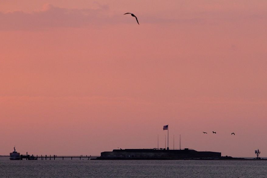 Fort Sumter, where the first shots of the Civil War were fired 150 years ago, is viewed from Fort Johnson in Charleston, S.C., on Tuesday, April 12, 2011. (AP Photo/Alice Keeney)