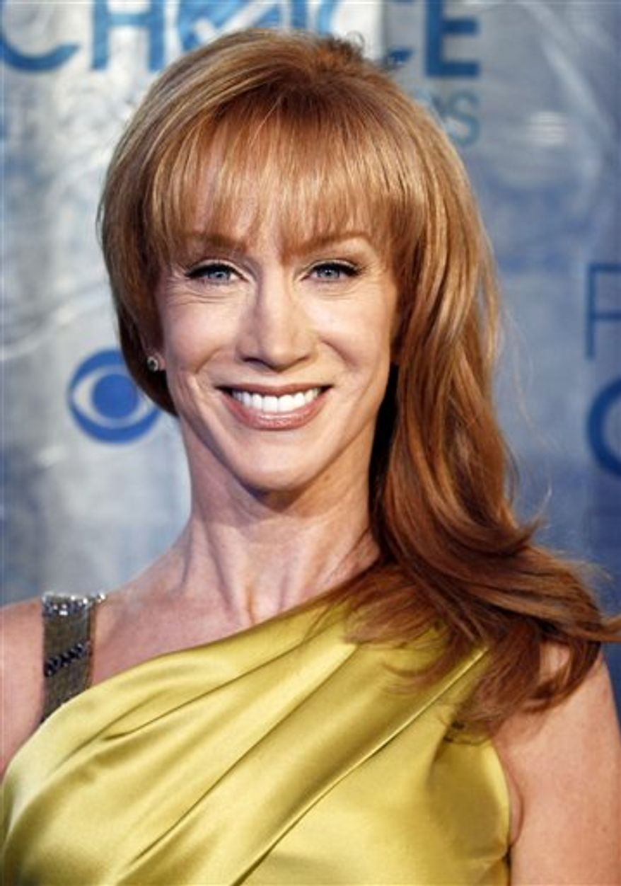 """FILE - In this Jan. 5, 2011 file photo, actress and comedian Kathy Griffin arrives at the People's Choice Awards in Los Angeles. Griffin will guest star in an upcoming episode of the Lifetime series, """"Drop Dead Diva.""""  In an episode of the upcoming third season, Griffin plays the sister to series regular Kate Levering's Kim and clashes with fellow comedian  Margaret Cho's character, Teri.  (AP Photo/Matt Sayles, file)"""