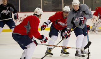 Alexander Semin (right) navigates the puck past Alex Ovechkin (center) and Mike Knuble as the Capitals practice at Kettler Capitals Iceplex in Arlington. The Capitals meet the New York Rangers for the second time in three years starting Wednesday.