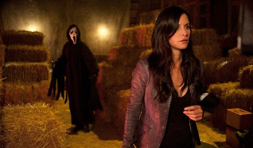 "Courteney Cox's former news reporter Gale Weathers-Riley is terrified by a new mask-wearing serial killer in Wes Craven's horror film ""Scream 4."" Ms. Cox reunites with co-stars Neve Campbell and David Arquette in the sequel. (Associated Press)"