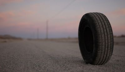 """Director Quentin Dupieux's horror parody """"Rubber"""" focuses on a serial-killing tire that imposes its malevolence on a small desert community. (Magnet Releasing)"""