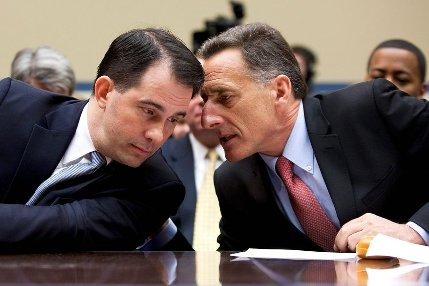 """Gov. Scott Walker, Wisconsin Republican (left), and Gov. Peter Shumlin, Vermont Democrat, testified before the House Oversight and Government Reform Committee on budget-cutting methods. Mr. Walker defended his """"bold political move"""" to take on collective bargaining agreements while Mr. Shumlin """"used maple syrup, not vinegar"""" to reach a deal. (Bloomberg)"""