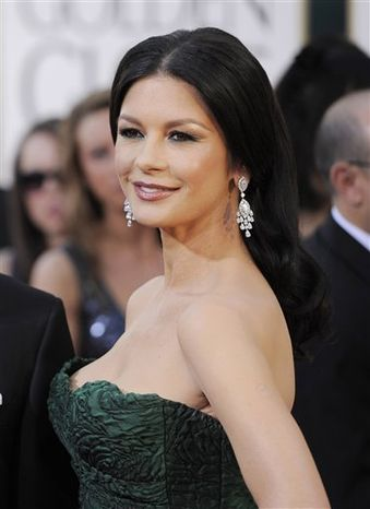 Actress Catherine Zeta-Jones arrives at the Golden Globe Awards in Beverly Hills, Calif.