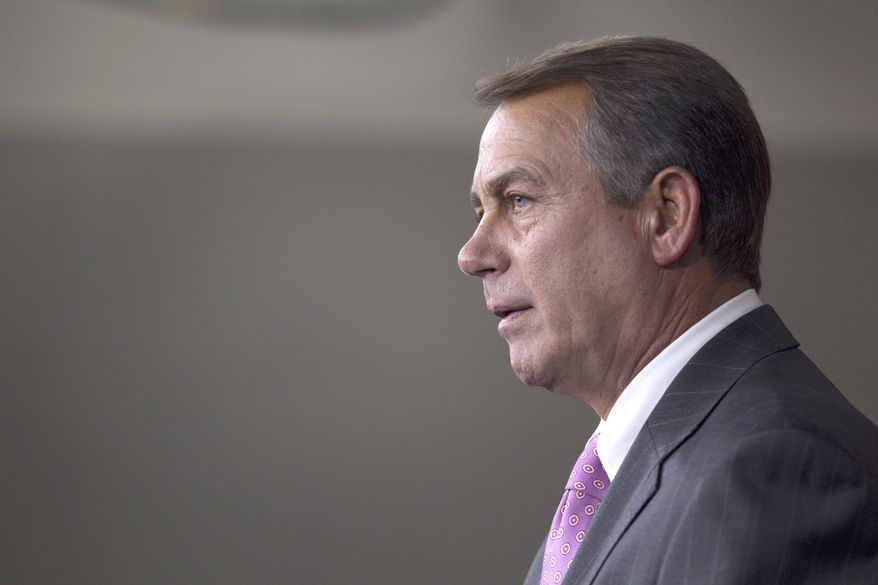 House Speaker John A. Boehner, Ohio Republican, speaks during a news conference on Capitol Hill in Washington on Thursday, April 14, 2011. (AP Photo/Evan Vucci)