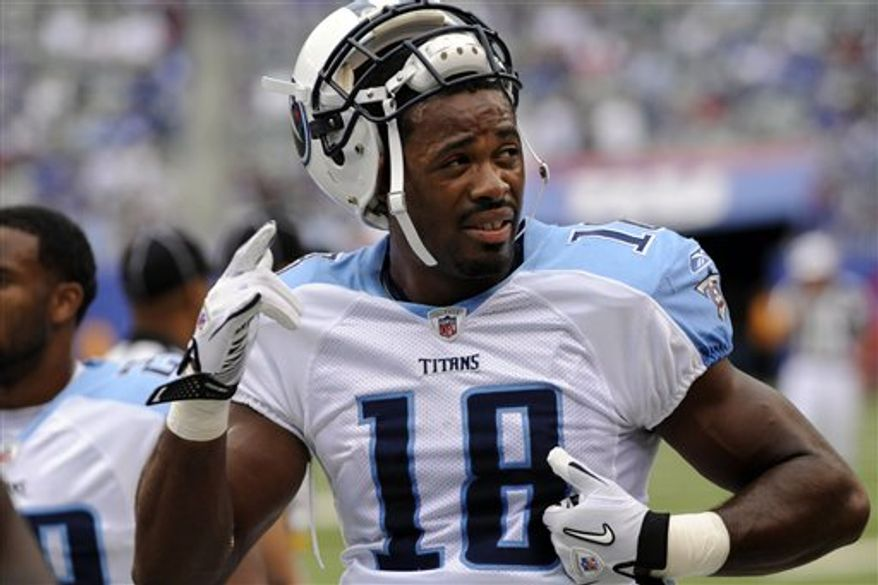 Tennessee Titans wide receiver Kenny Britt was charged with DUI at an Army post Friday morning. (AP Photo/Charlie Riedel, File)