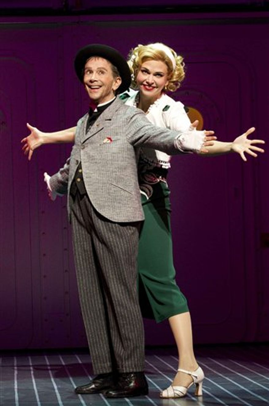 "In this theater publicity image released by Boneau/Bryan-Brown, Joel Grey, left, and Sutton Foster are shown from the musical ""Anything Goes"" performing at the Stephen Sondheim Theatre in New York. (AP Photo/Boneau/Bryan-Brown, Joan Marcus)"