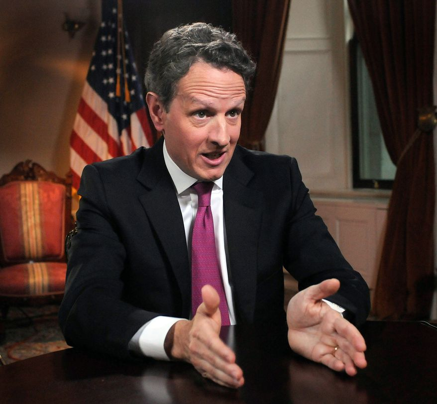 """Treasury Secretary Timothy F. Geithner said Sunday that Republicans are assuring the White House that """"Congress will raise the debt ceiling."""" (ABC via Associated Press)"""