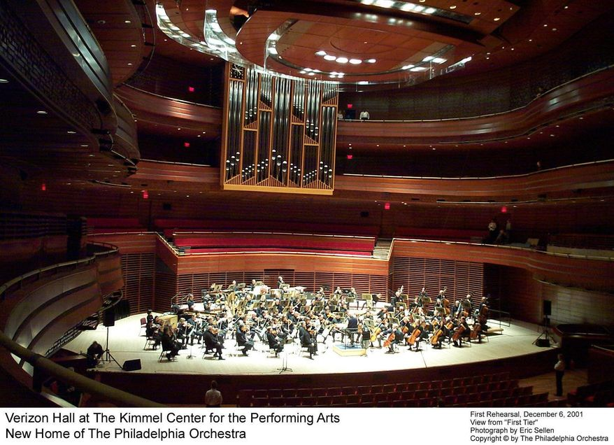 ** FILE ** The Philadelphia Orchestra rehearses for the first time in Verizon Hall at the Kimmel Center for the Performing Arts in December 2001. (Philadelphia Orchestra/Eric Sellen )