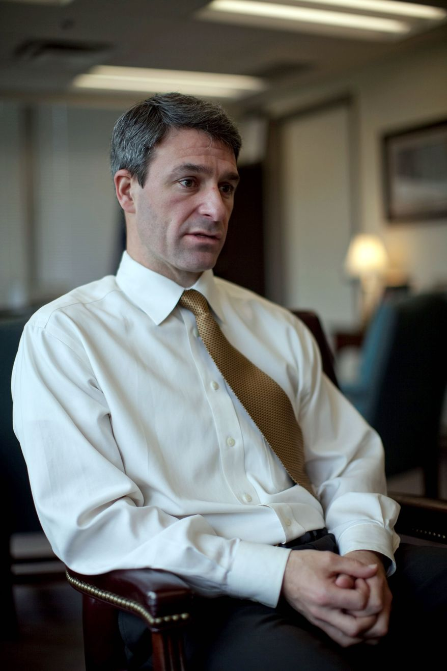 Virginia Attorney General Kenneth T. Cuccinelli II is hoping the Supreme Court will fast-track his health care law appeal. (Drew Angerer/The Washington Times)