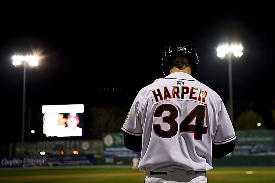 Bryce Harper waits in the on-deck circle during the Hagerstown Suns' home opener against the Lakewood Blueclaws at Municipal Stadium in Hagerstown, Md., on Friday, April 15, 2011. (Drew Angerer/The Washington Times)