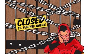 Illustration: Hell is closed by Linas Garsys for The Washington Times