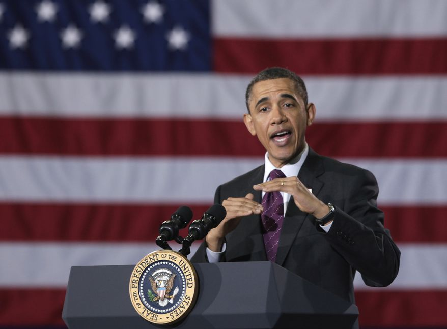 President Obama speaks during town-hall meeting at Northern Virginia Community College in Annandale on Tuesday, April 19, 2011. (AP Photo/Carolyn Kaster)