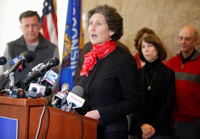 JoAnne Kloppenburg speaks during a news conference at the Warner Park Community Recreation Center in Madison, Wis., on Wednesday, April 20, 2011. (AP Photo, Wisconsin State Journal, Michael P. King)