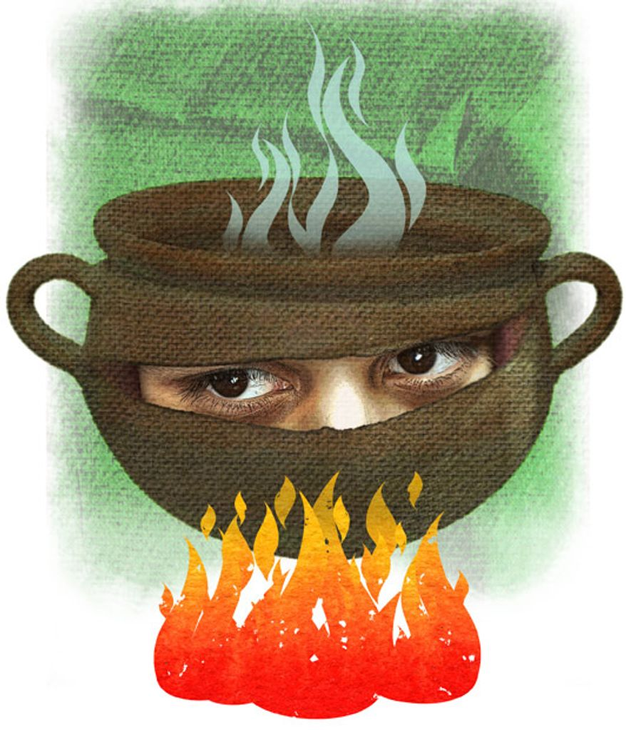 Illustration: Muslim melting pot by Greg Groesch for The Washington Times