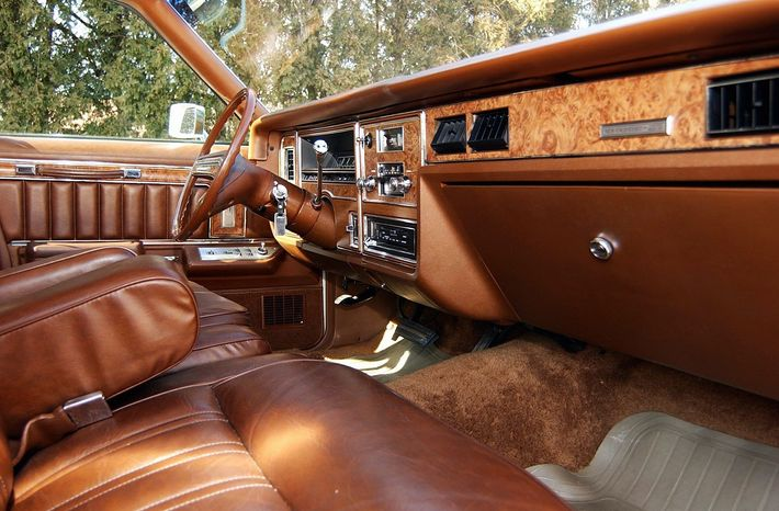 The richly appointed station wagon has a spacious front seat.