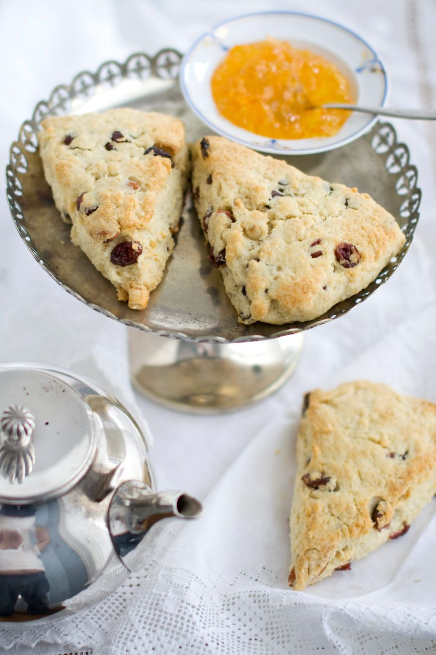 Fruit and chocolate scones could make for an ideal snack at early-morning gatherings to watch the April 29 wedding of Prince William and Kate Middleton. (Associated Press)