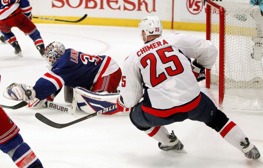 Jason Chimera prepared to score the Capitals' game-winning goal in the second overtime Wednesday night after New York Rangers goalie Henrik Lundqvist couldn't corral the puck. Game of the Eastern Conference quarterfinal series is Saturday at Verizon Center. (Associated Press)