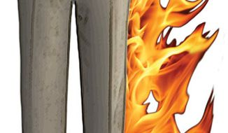 Illustration: Pants on fire by Greg Groesch for The Washington Times