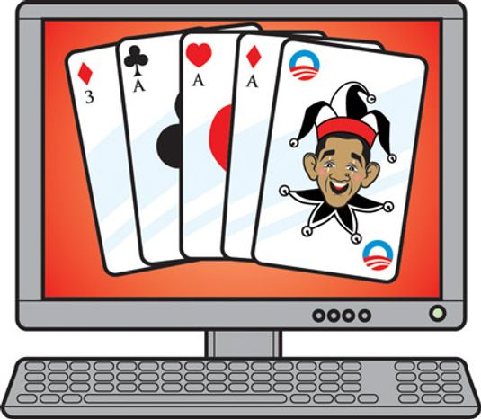Illustration: Online poker by Linas Garsys for The Washington Times