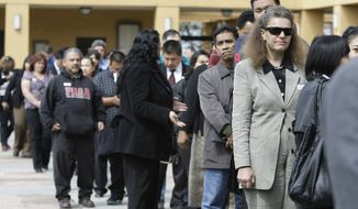 Job applicants wait in a long line at a job fair in San Jose, Calif., on Tuesday, March 22, 2011. (AP Photo/Paul Sakuma)