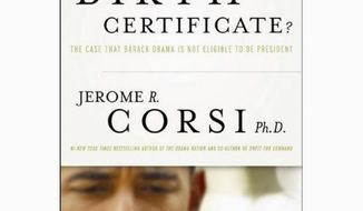 "Book cover for ""Where's the Birth Certificate"" by Jerome R. Corsi."