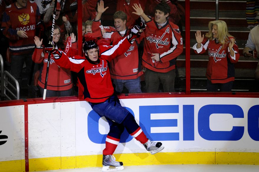 Capitals Alexander Semin celebrates his goal in the the third period that put the Caps up 3-0  over the Rangers during game five of the first round playoff series, at the Verizon Center in Washington, D.C., Saturday, April 23, 2011. (Drew Angerer/The Washington Times)