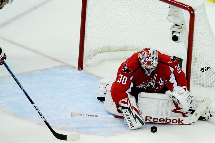 Capitals goalie Michal Neuvirth compiled a 1.38 goals-against average and a .946 save percentage in Washington's five-game Eastern Conference quarterfinal win over the New York Rangers. (Drew Angerer/The Washington Times)