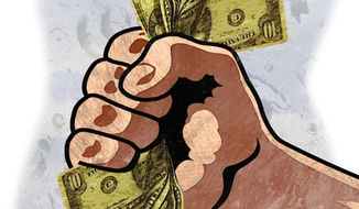 Illustration: Labor money by Greg Groesch for The Washington Times