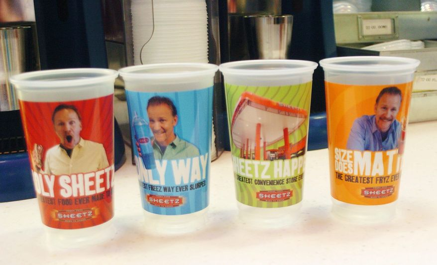 "ASSOCIATED PRESS Filmmaker Morgan Spurlock's image appears on Sheetz collector's cups as part of the promotion of the new documentary, ""POM Wonderful Presents: The Greatest Movie Ever Sold."" The convenience store chain is a key sponsor of the film."
