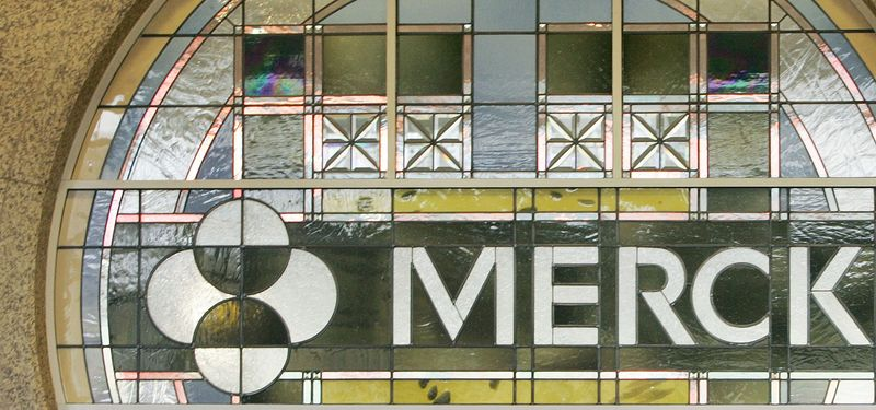 ** FILE ** In this file photo made April 15, 2009, the Merck logo is seen in the lobby of Merck & Company Inc.'s world headquarters in Whitehouse Station, N.J. (AP Photo/Mel Evans, File)