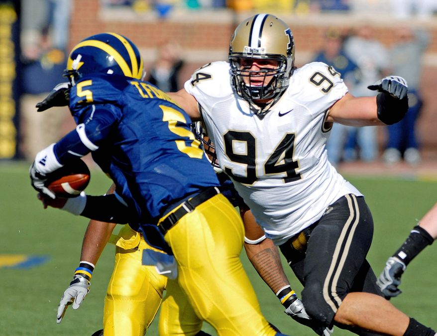 Associated Press Purdue defensive end Ryan Kerrigan (94), shown sacking Michigan quarterback Tate Forcier, was the Big Ten Conference's defensive player of the year. The Redskins took him at No. 16 after dealing the ninth pick to Jacksonville.