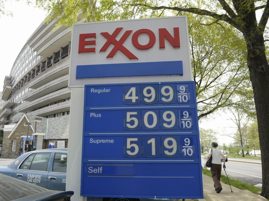 Gas prices topped $5 a gallon at a station in Northwest Washington last week. The high prices, which have risen roughly 85 cents since the start of the year, are taking a toll on the economic recovery. ASSOCIATED PRESS