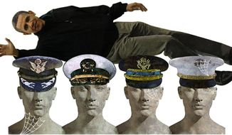 Illustration: Retread generals by Greg Groesch for The Washington Times