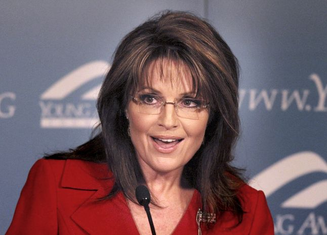 ** FILE ** In this Feb. 4, 2011, file photo, former Republican vice presidential candidate and Alaskan Gov. Sarah Palin speaks at the Reagan Ranch Center in Santa Barbara, Calif. (AP Photo/Spencer Weiner, File)