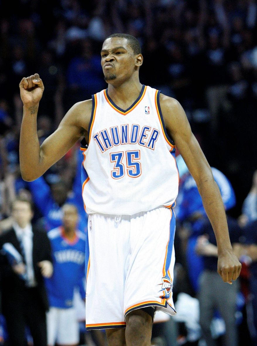 Oklahoma City forward Kevin Durant is a Goodman League regular, and he'll play in the clash between the Goodman League stars and the Drew League stars Saturday. (Associated Press)