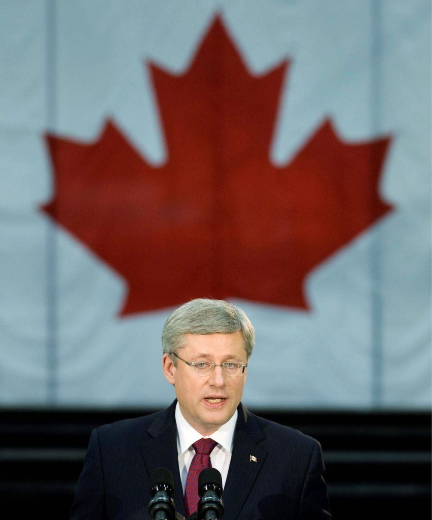 CANADIAN PRESS PHOTOGRAPHS VIA ASSOCIATED PRESS Canadian Prime Minister Stephen Harper, in power since 2006, could be out of a job if recent polls are any indication. If he doesn't secure a majority government in Monday's election, the opposition parties are expected to try to form a coalition government.