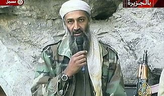 In this Oct. 7, 2011 file photo, Osama bin Laden is seen at an undisclosed location in this television image. A person familiar with developments said Sunday, May 1, 2011 that bin Laden is dead and the U.S. has the body. (AP Photo/Al Jazeera, File)