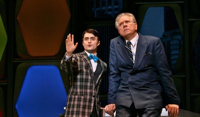 "Daniel Radcliffe (left) and John Larroquette debate ""How to Succeed in Business Without Even Trying."" Mr. Radcliffe was expected to be nominated for a Tony, but was snubbed."