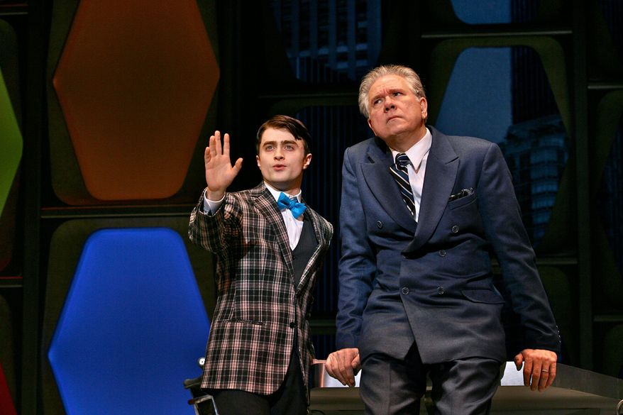 """Daniel Radcliffe (left) and John Larroquette debate """"How to Succeed in Business Without Even Trying."""" Mr. Radcliffe was expected to be nominated for a Tony, but was snubbed."""