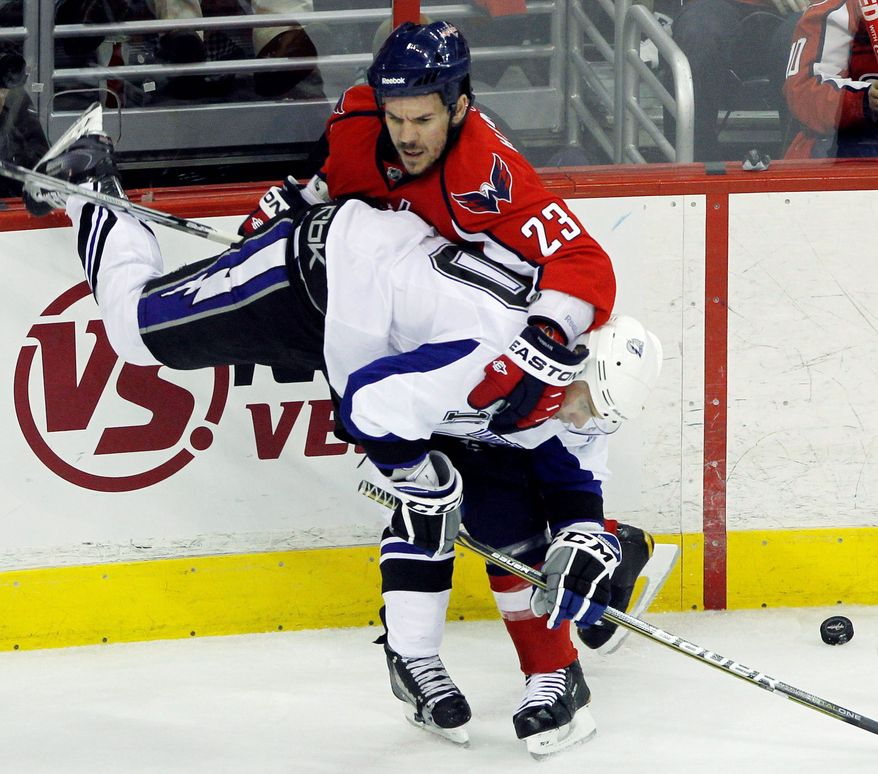 Washington Capitals defenseman Scott Hannan remains a free agent, but will not be with the Washington Capitals next season. (Associated Press)