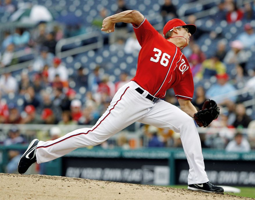 ASSOCIATED PRESS Tyler Clippard, shown during Sunday's victory over San Francisco, leads all Nationals relievers with 15 appearances. Washington's bullpen has been well-rested with starters working deep into games.